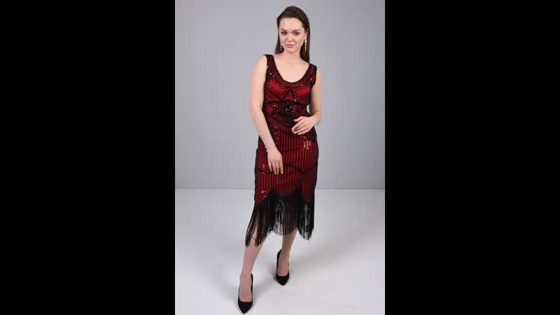 Коктейльное платье миди с бахрамой на вечеринку 102945 305003