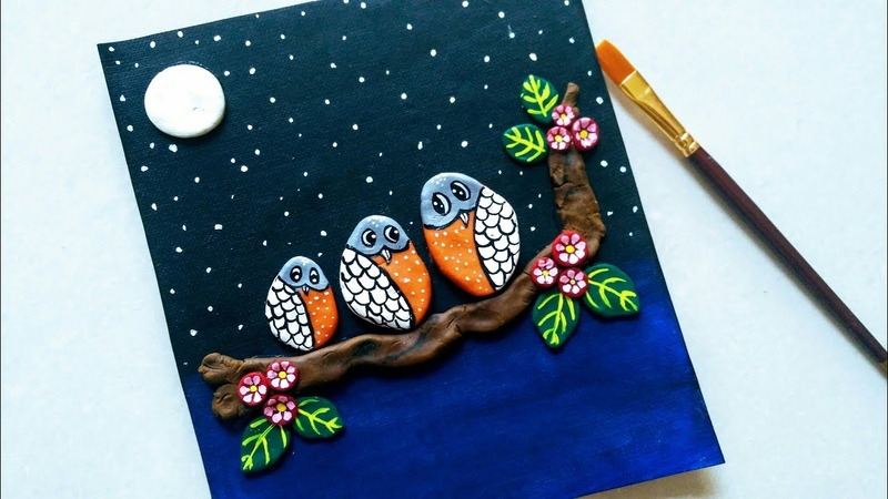 3D clay art painting || making owl using Clay dough || DIY 3D Clay Mural art on canvas ||
