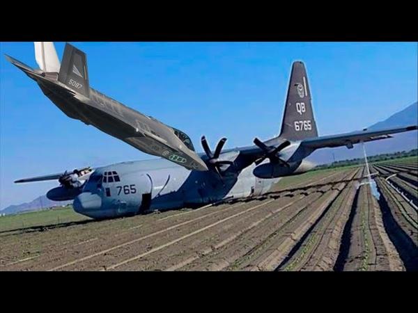 У ВВС США новые потери F 35 вдребезги самолет заправщик KC 130J приземлился на пузо