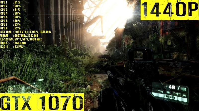 Crysis 3 GTX 1070 OC Ultra 1440P FRAME RATE TEST