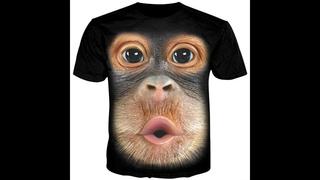 Kissqiqi мужская футболка с 3d принтом обезьяны, забавная мужская футболка, модная уличная футболка с коротким рукавом