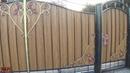 Ворота с калиткой из профнастила своими руками.Художественная ковка-3