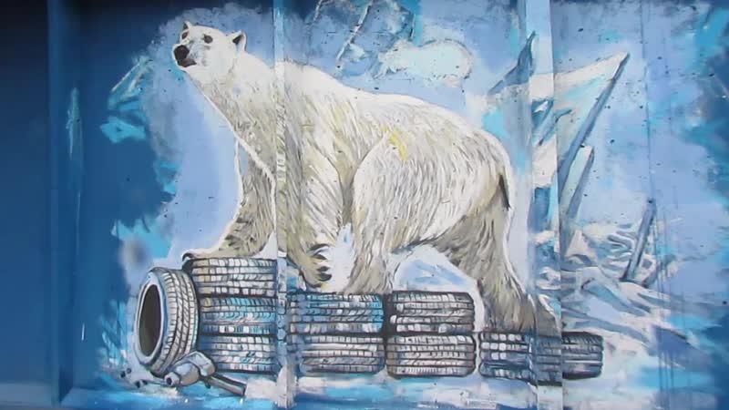 Роспись стен шиномонтаж белый медведь шиномонтаж росписьстен роспись москва ремонт питер