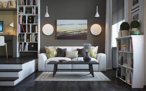 Современный дизайн однокомнатной квартиры 37 кв. м.