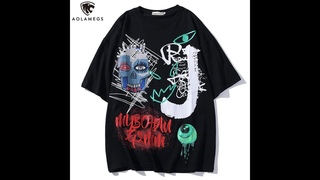 Мужская футболка aolamegs, повседневная футболка большого размера с принтом в виде черепа, глаз и граффити, летняя уличная