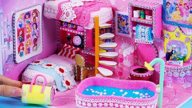 DIY Miniature Disney Princess Dollhouse~ Bedroom and Bathroom, Mini Slime, Rapunzel, Cinderella