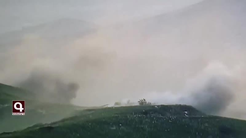 Армия обороны НКР публикует кадры ударов по объектам ВС Азербайджана на фронте в Карабахе