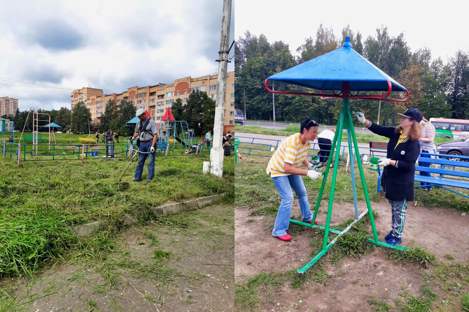 Помогли привести в порядок детскую площадку в рамках проведении акции «Доброе сердце»