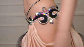 Attractive Light Peach with Black Belly Dance Costume