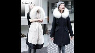 Vielleicht 30 градусов зимняя одежда длинные парки зимняя куртка женская меховая одежда с капюшоном женская меховая подкладка