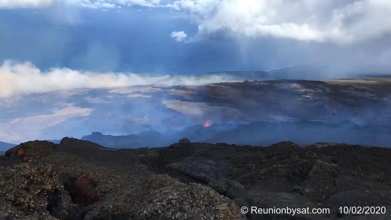 Piton de la Fournaise : Éruption du 10/02/2020, vidéo par ReunionbySat.com