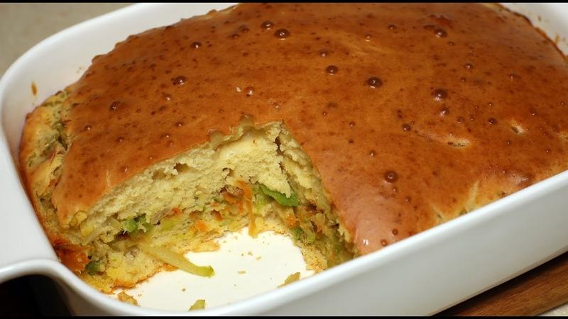 Заливной пирог с капустой. Супер быстрый капустный пирог.