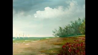 Как рисовать облака акрилом Часть 2. How to paint the cloudy sky in acrylic. Part 2