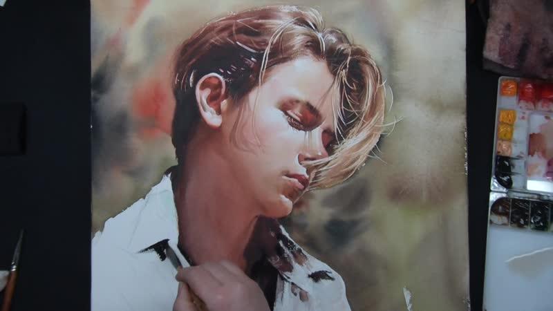 Акварельная портретная живопись Ривер Феникс