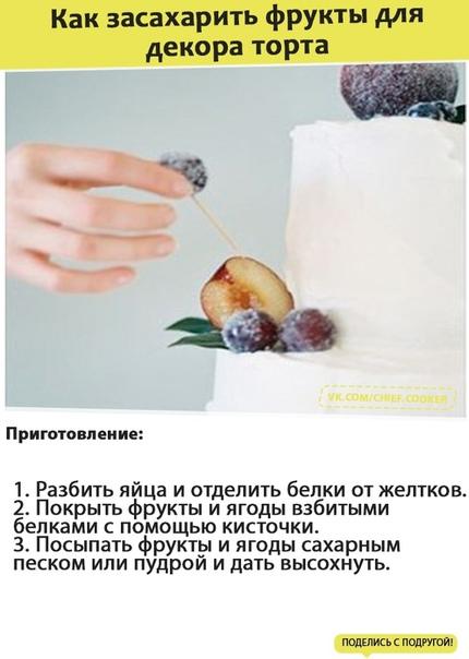 Как засахарить фрукты для декора торта