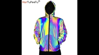 Светоотражающая куртка с радужной расцветкой для мужчин, осень 2020, цветное пальто с капюшоном и длинными рукавами, карманы,