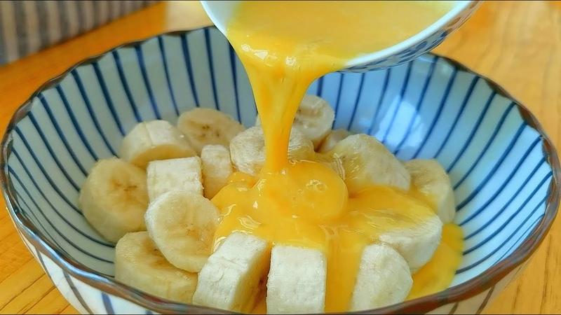 小穎美食 香蕉不要直接吃,加3個雞蛋,不油炸不加水,出鍋比吃肉 3699