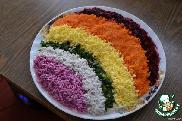 Салат радуга со свеклой рецепт с фото пошагово