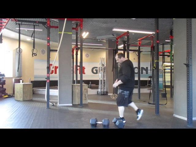 Charles Blatt's lift crossed dumbbells 35kg 30kg one hand clean and push press Подъём Ч Блатта 65кг