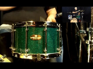 "Caixa Pearl Masterworks Green Sparkle 14x8"" Mahogany snare sound check"