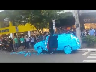 That's what happens when you park in a handicap spot in brazil