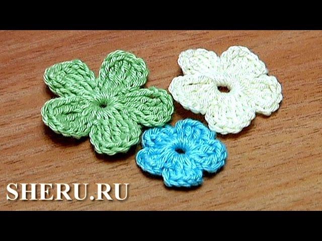 How To Crochet Simple Flower Урок 26 часть 2 из 2 Вязание цветка крючком