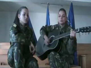 Romanian army girls sing a folk song cover military women