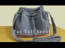Crochet Tutorial Tas Tali Serut Drawstring Bag - Mini Bean Stitch Subtitles Available