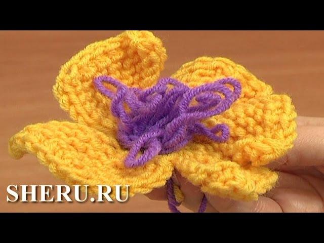 Knitting 5 Petal Flower Tutorial 8 Вязаный цветок спицами