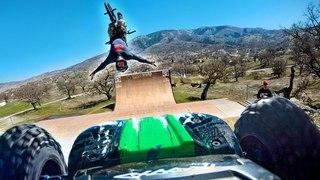 Worlds Biggest RC MegaRamp Stunt Session | Pro BMX/Scooter/X-Maxx/E-Revo