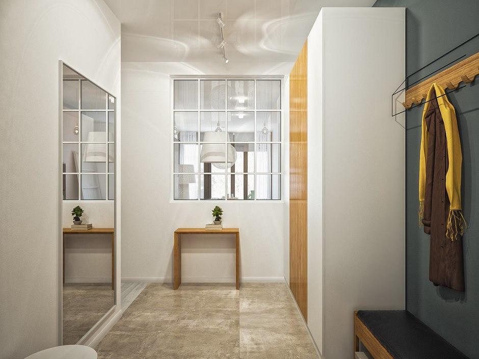Проект квартиры 54 м с внутренним окном и спальней за раздвижными перегородками из матового стекла.