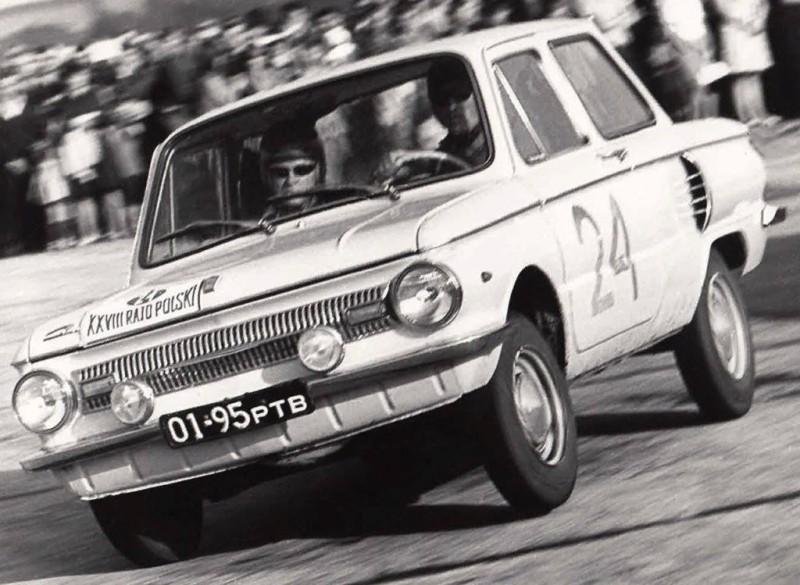 Легковой автомобиль ЗАЗ-966 на ралли XXVIII Rajd Polski, 1968 год.