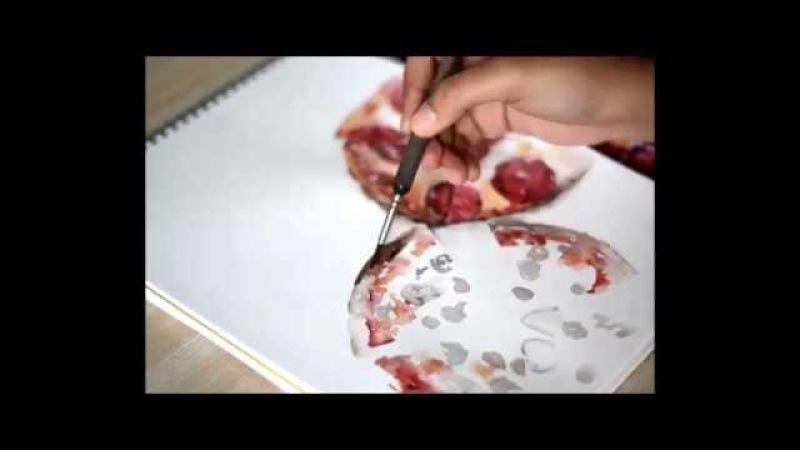 Watercolor Food Painting Pizza by enon de belen