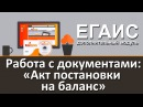 Модуль DataMobile ЕГАИС Работа с документами Акт постановки на баланс