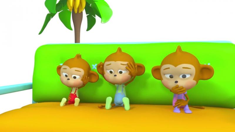 Пять мартышек Мультфильм песенка про маленьких обезьянок для детей Учимся считать