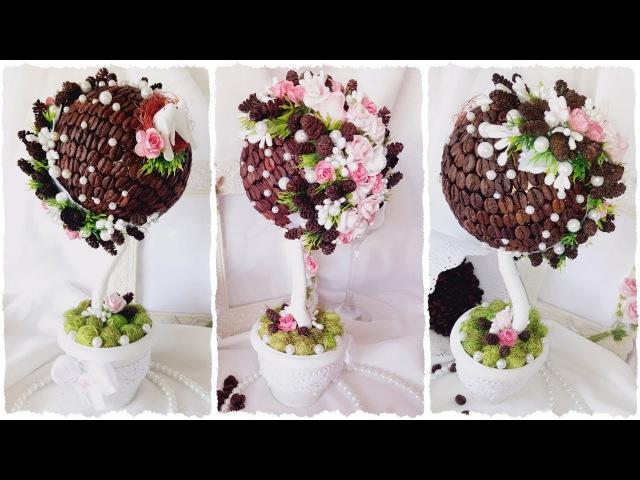ТОПИАРИЙ из КОФЕ с ШИШКАМИ DIY Topiary Tree of coffee and cones Topiario de bricolaje de café