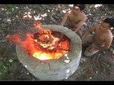 Primitive Technology Large lime kiln, Survival Skills Wilderness