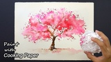 How to Paint a Cherry Tree with Cooking Paper Easy Painting Technique - Sakura