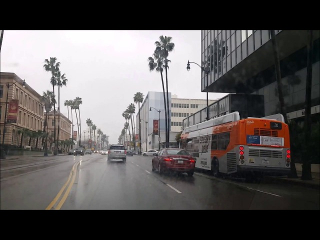 Los Angeles Driving Tour: Driving to Ocean on America's Richest Street: Wilshire Boulevard in Rain