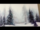 2. Снежная зима. Масло. Snowy Pine Tree Oil Painting Landscape Tutorial - By Artist, Andrea Kirk - The Art Chik