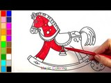 Rocking Horse Drawing and Coloring for Kids