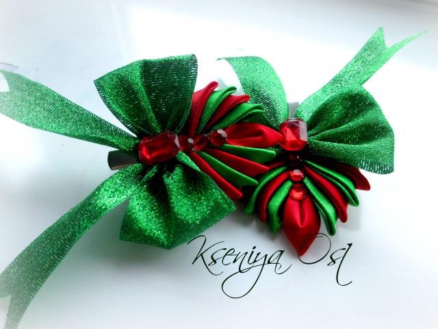 Новогодние заколки канзаши Елочки заколочки из лент своими руками