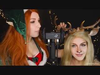Asmr 👂👅 mouth sounds twin elf  deer 💋 ear licking, breathing, kiss 🌙 асмр з