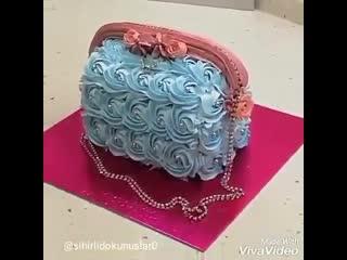"""Как декорировать торт """"дамская сумочка"""" кремом. / наша группа в  """"торты на заказ. мировые шедевры""""."""