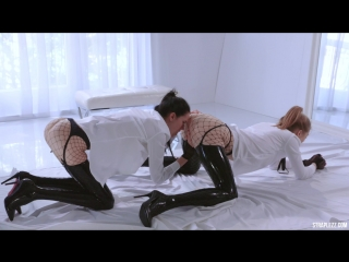 Straplessdildo. merry pie and mia. latex and fishnets // porn lesbians dildo heels tights stockings