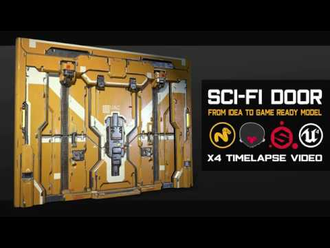 Sci-Fi Door. Modo, Marmoset Toolbag, Substance Painter, UE4
