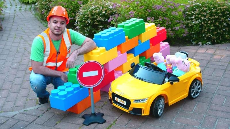 Audi oyuncak arabasını tamir etme oyunu! Çocuk videosu. Peppa Pig oyuncakları