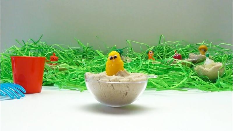 Выращиваем овощи и грибы    Играем с Бонстиками и кинетическим песком    Stikeez    Kro-Kids ☆