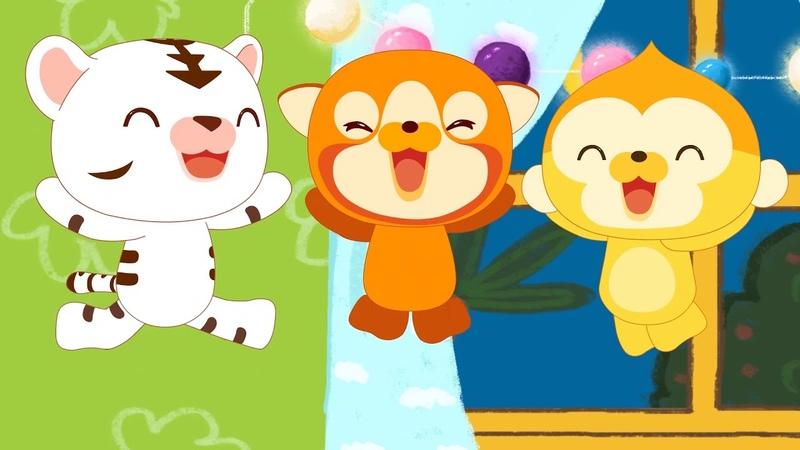 Новые песенки для детей Пять маленьких обезьянок прыгали на кровати потешки для малышей