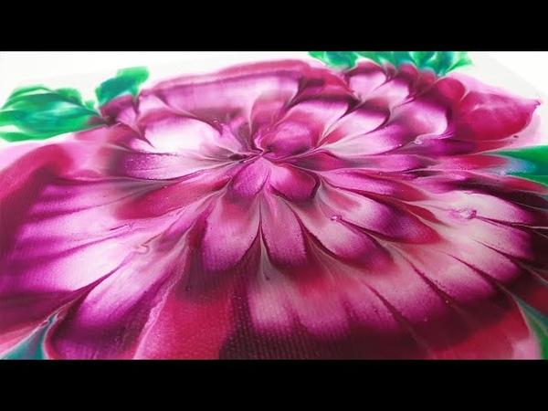 (160) Dip technique _ Triple lines _ 3D flower _ Fluid acrylic _ No silicone oil _ Designer Gemma77